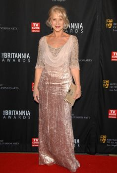 Helen Mirren wore a gorgeous pale pink velvet dress with a beaded bodice and chiffon cowl for the BAFTA Brittania Awards 2011.