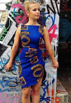 """Azize"" African wax print dress Love the design especially on the shoulders"