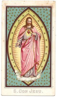 Sacred Heart of Jesus Christ Antique Latin by 12StarsVintage