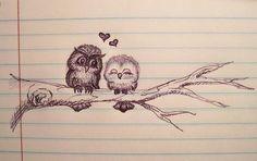 #Búhos #enamorados #corazones #love