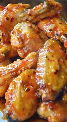 Crispy Baked Orange Chicken Wings ~ If wings aren't your thing, you can just as easily use this glaze atop chicken breasts and tenders, as well as pork and shrimp. by Mopar Mo Orange Chicken Wings Recipe, Baked Orange Chicken, Baked Chicken Wings, Chicken Wing Recipes, Chicken Breasts, Chicken Wing Sauces, Chicken Sauce, Chicken Bites, Boneless Chicken