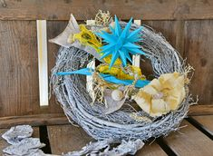 Beautiful star decoration for in- and outdoors. By MyBrilliantStar. Garden or patio/balcony deco Five Pointed Star, Star Decorations, Grapevine Wreath, Grape Vines, Balcony, Outdoors, Patio, Turquoise, Stars