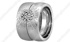14K White Gold His and Her Wedding Ring Set, 6mm Wide and 2mm Thick 0.21 Carat 14K-HH6048