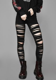 Widow Crypt Creeper Shredded Leggings cuz you're infatuated with the darkness. Bewitch them under the full moon in these seductive leggings that have a high waist fit and a shredded design down the front. Punk Outfits, Gothic Outfits, Grunge Outfits, Outfits For Teens, Cool Outfits, Casual Outfits, Fashion Outfits, Women's Fashion, Fashion Trends