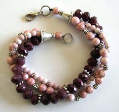 PINK Multi Strand Bracelet HandMade Jewelry by zenjewelrydesign, $46.75