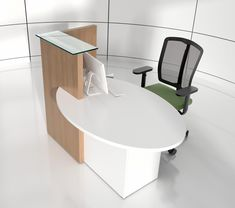 The range of Ovo reception desk is designed perfectly for small offices and customer service bureaus. Even though the reception desk is small, there's more than enough space to place a computer and/or laptop on the countertop. Featuring satin tempered glass countertop, this reception table has its uncovered countertop area opening to the left, making it more suitable for people who are left handed. The compact design does not compromise with the overall look of the reception desk.