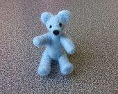 Teddy bear needle felted miniature light blue merino wool felted gift under 25