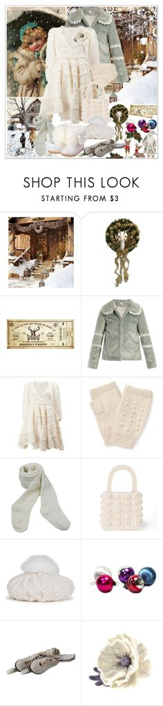 """Untitled #193"" by shewalksinsilence ❤ liked on Polyvore featuring Pottery Barn, Shrimps, Zimmermann, Miss Selfridge, Eugenia Kim, White Ice, vintage and Christmas"