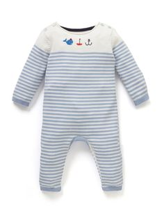 Boys Stripe Knitted All In One with Hat | M&S