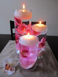 Fuchsia Pink Orchid Floating Candle Wedding Centerpiece Decor via Etsy