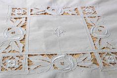 Linge ancien : Nappe et 12 serviettes en fil   3
