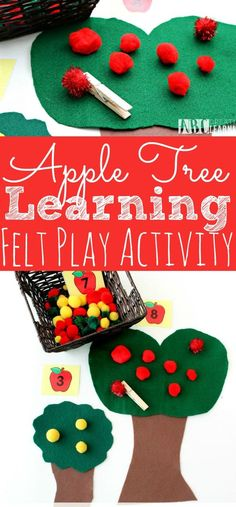 This DIY Felt Apple Counting Activity is super easy to create at home for your preschooler. Perfect for learning to count and fine motor skills. Fine Motor Activities For Kids, Apple Activities, Motor Skills Activities, Counting Activities, Montessori Activities, Fine Motor Skills, Preschool Activities, Fall Preschool, Preschool Education