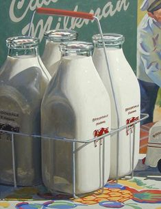 milk bottles.  they were delivered every morning but sunday by a milkman in a delivery truck.  he also had cream, eggs, cottage cheese, sour cream and buttermilk.  you left a card indicating what you wanted in your milk box.