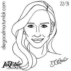#InkTober Number 22: Cate Blanchett ✒ #InkTober2016 #drawing #illustration #illustrationoftheday #ink #inkdrawing #handmade #sketch #sketching #art #fanart #CateBlanchett #CatherineEliseBlanchett #actress #theatredirector #australian #beautiful #woman #lady https://www.facebook.com/diegocelmailustrador/