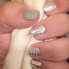 Silver nail art by Jamberry. Super easy to apply, no dry time, and no polish involved.