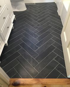 Grey Herringbone Tile Floor Black Tile Planks Herringbone Pattern Layout Design Before After Worth The Wait Bathroom The Big Reveal Room Makeover Contest Diy Bathroom Remodel, Bathroom Renos, Bath Remodel, Paint Bathroom, Shower Remodel, Bathroom Ideas, Bathroom Flooring, Master Bathroom, Bathroom Renovations