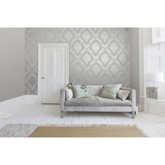 Henderson Interiors Chelsea Glitter Damask Wallpaper Soft Grey & Silver - Wallpaper from I love wallpaper UK Tree Wallpaper Grey, Wallpaper Uk, Metallic Wallpaper, Damask Wallpaper Living Room, Accent Wallpaper, Wallpaper Samples, Glitter Bedroom, Damask Decor, Fabric Decor