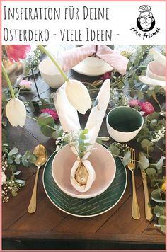 Servietten falten in Hasenform - Tischdeko für Ostern einfach selber  machen. DIY Tischdeko für ein schönes Osterfest. Hasen falten Schritt für Schritt einfach erklärt. Origami Hasen und weitere DIY Osterdeko entdecken!  #osterdeko #diydeko #serviettenfalten #origami