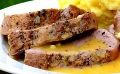 A pork tenderloin so easy to make, you will make it for your family again and again! A quick and easy honey-mustard sauce too. Lean Meat Recipes, Pork Recipes, Slow Cooker Recipes, Cooking Recipes, Mustard Sauce For Pork, Mustard Pork Tenderloin, Pork Fillet, Sweet Sauce, Pork Dishes