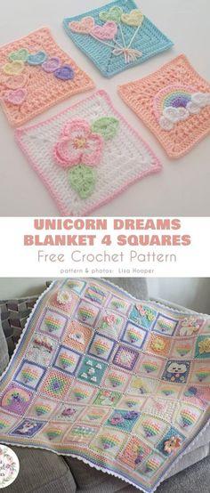 Crochet afghans 827958712726565358 - Unicorn Dream Blanket Free Crochet Pattern Source by elfepapillon Crochet Motifs, Crochet Afghans, Crochet Squares, Crochet Blanket Patterns, Baby Blanket Crochet, Baby Patterns, Knitting Patterns, Knit Crochet, Crochet Blankets
