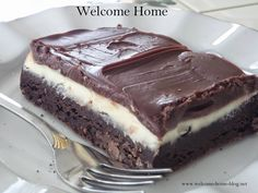 Welcome Home: ♥ Cream Cheese Brownies with Ganache