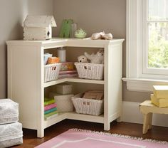 Cameron Corner Bookcase | Pottery Barn Kids - For open corner in Living Room? Toy/Book/Supplies storage?