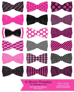 18 Hot Pink, Black and White Bowtie Printables! Glue them to toothpicks and stick them in treats on your dessert table or string them up as garland! $3.50 (Available in any color combination) #cupcaketoppers #tags #wedding #invitation #birthday #bridal #babyshower #decorations #dessert #girl #girly #table #bow #tie #diy #paper #dirtythirty