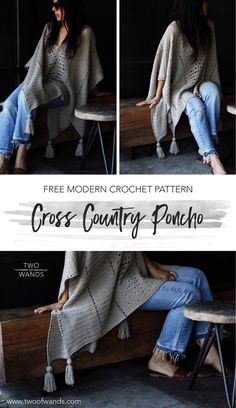 I love this free modern crochet pattern for the cross country poncho because it can double as a blanket! This poncho is using the Lion Brand LB Collection Superwash Merino. It uses an easy, simple stitch pattern and includes full instructions and chart.