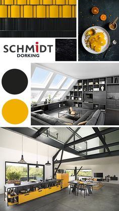 Black and Yellow kitchen inspirational moodboard and kitchen design by Schmidt. We offer a wide range of colours to choose from and we guide you through the process to make it easier to design you dream kitchen. Design Your Kitchen, What's Your Style, Bespoke Kitchens, Bespoke Furniture, Tv Unit, Schmidt, Black N Yellow, Cool Kitchens, Lounge