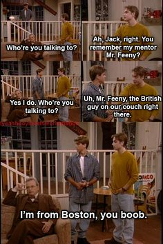 "The fact that Feeny calls Eric a ""boob."" Haha My 10 year old self can't handle it. Boy Meets World Boy Meets World Quotes, Girl Meets World, Tv Show Quotes, Movie Quotes, Cory And Topanga, Jokes, Funny Memes, Hilarious, Funny Pins"