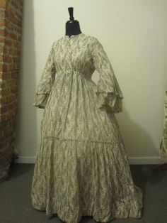 """C 1850's Paisley Cotton Dress with Great Pagoda Sleeves Maternity 