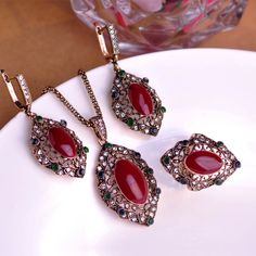 Madrry Brand Royal Design Turkish Vintage Jewelry Sets Necklace & Earrings & Ring make you looks like thin Classy Enamel Craft