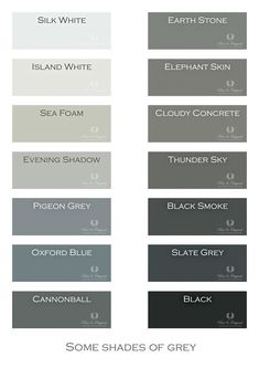 Paint Colors for bathroom & bedroom - I LOVE GRAY! Shades of Grey. Chalk Paint, Lime Paint, Floor Paint and more. Colors in Lime Paint, Chalk Paint and much more. Take a look at our website. Wall Paint Colors, Bedroom Paint Colors, Bedroom Color Schemes, Interior Paint Colors, Paint Colors For Home, Colour Schemes, Interior Design, Floor Colors, House Colors