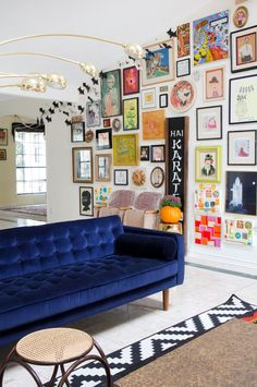 Blue Velvet Sofa via apartment therapy