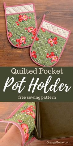 Quilted Pocket Pot Holders Sewing Tutorial and Free Pattern Small Sewing Projects, Sewing Projects For Beginners, Sewing Tutorials, Sewing Crafts, Sewing Tips, Projects To Try, Potholder Patterns, Sewing Patterns Free, Free Pattern