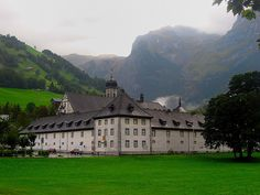 Engelberg Monastery, like the one where Elodie and Will find refuge on their journey to Paris Engelberg, Alps, Switzerland, Countryside, Yogurt, Places Ive Been, To Go, Heaven, England