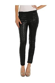ColorMC Women's Sequin Covered Knit Skinny Pants