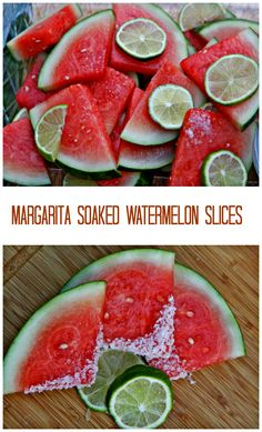 Margarita Soaked Watermelon Slices. Slices of juicy, sweet, cold watermelon infused with fresh lime juice, tequila, cointreau, and sprinkled with a little bit of margarita salt!  http://www.ifood.tv/recipe/margarita-soaked-watermelon-slices-addictive