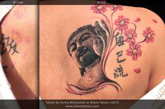 uddha Tattoo (Cover-Up) by Sunny Bhanushali at Aliens Tattoo, Mumbai. Client had some weird looking cherry blossom flowers on her back and some kanji script. She wanted to rework on those flowers to make it better and add some concept to the overall random script and flowers so that it looks like one tattoo. THIS PHOTO IS TAKEN ON THE THIRD DAY OF TATTOO and so you may see wrinkles and peels on tattoo as its healing. http://www.alienstattoos.com/