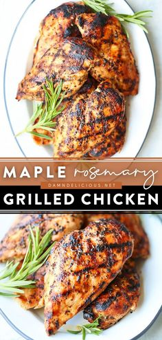 25 reviews · 55 minutes · Gluten free · Serves 6 · This easy summer recipe will be a staple in your house! Thanks to a maple rosemary marinade, these grilled chicken breasts are the BEST. Serve this Father's Day dinner idea with veggies for a… Grilling Recipes, Cooking Recipes, Healthy Recipes, Healthy Dinners, Yummy Recipes, Easy Dinner Recipes, Appetizer Recipes, Food Dishes, Food Food