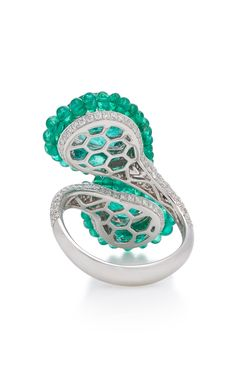 Shop Royale White Gold Emerald And Diamond Wrap Ring . Featuring a wrap silhouette, Saboo's 'Royale' white gold ring is encrusted with dual Gold Diamond Rings, White Gold Rings, Emerald Jewelry, Diamonds, Gems, Engagement Rings, Gift Ideas, Fashion Design, Products