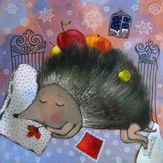 Postcard Winter apples by Anna Silivonchik Hedgehog Art, Night Wishes, Mythological Creatures, Naive Art, Cat Art, Pet Birds, Art For Kids, Art Decor, Pattern Design