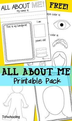 FREE printable All About Me Pack for preschool and kindergarten featuring the child's name, handprint, favorite things, eye and hair color, self-portrait and family portrait.