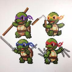 Ninja Squirtles by philthyturtle #tmnt #pokemon #leonardo #donatello #michealangelo #raphael #squirtle #ninja #perler #artkal #hama #nabbi #pixelart #perlerart