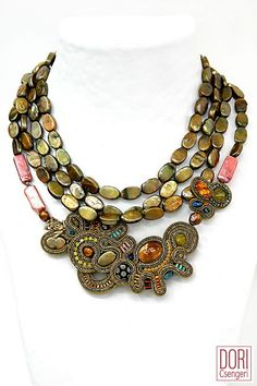 Aenigma - soutache necklace with glass cabochon, fresh water pearls, golden frog, miyuki & crystal beads