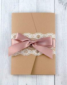 Shabby Chic Wedding Invitation - Lace Pocketfold Wedding Invitation on Etsy