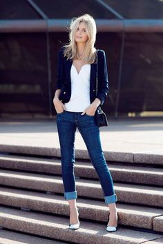 Rolled up jeans and heels- I need a navy cardigan