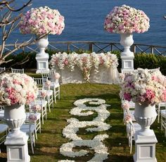 Wedding ceremony flowers, wedding aisle décor, wedding flower arrangement, add pic source on comment and we will update it.