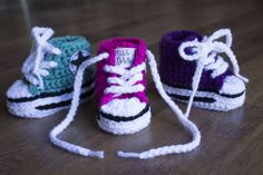 Crochet Converse style baby booties in teal, pink, or purple