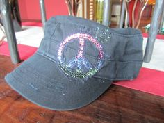 Swarovski Crystal Military Cadet Cap Hat with Peace by Rhonny K., $39.00
